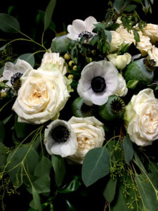white rose and poppy bouquet
